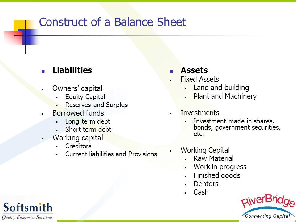 Construct of a Balance Sheet