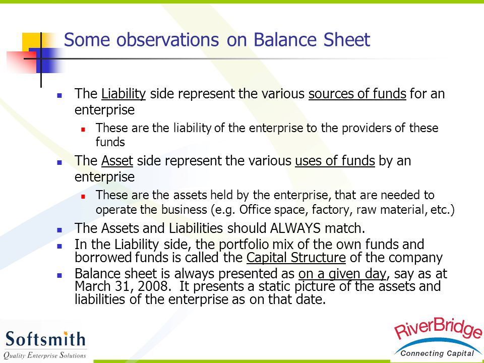 Some observations on Balance Sheet