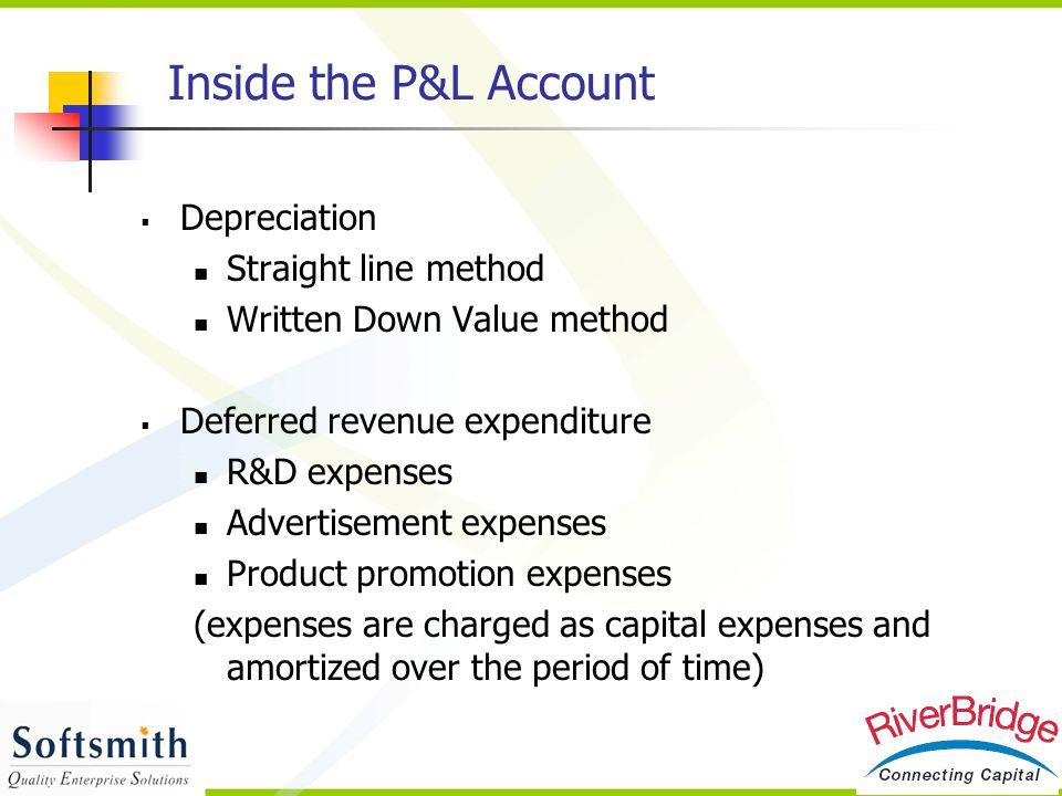 Inside the P&L Account Depreciation Straight line method