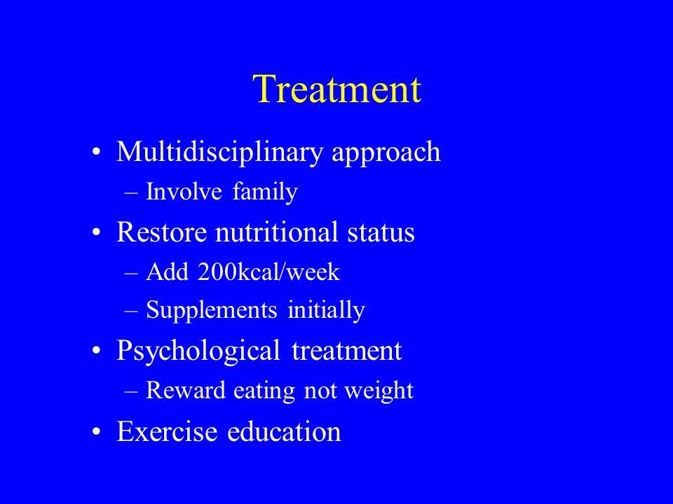 Treatment Multidisciplinary approach Restore nutritional status