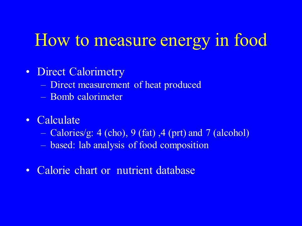 How to measure energy in food