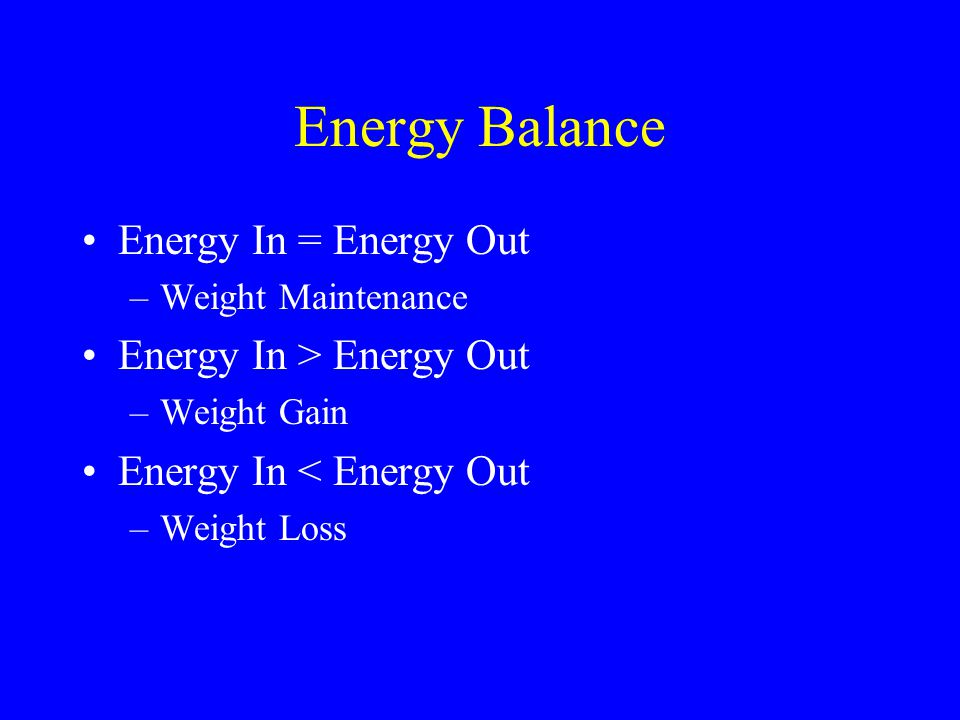Energy Balance Energy In = Energy Out Energy In > Energy Out