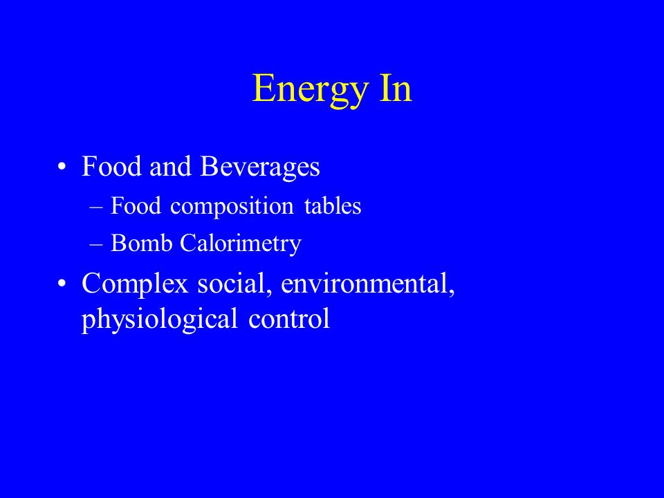 Energy In Food and Beverages