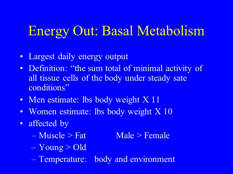 Energy Out: Basal Metabolism