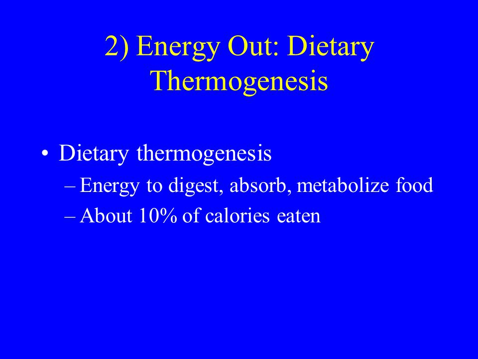 2) Energy Out: Dietary Thermogenesis