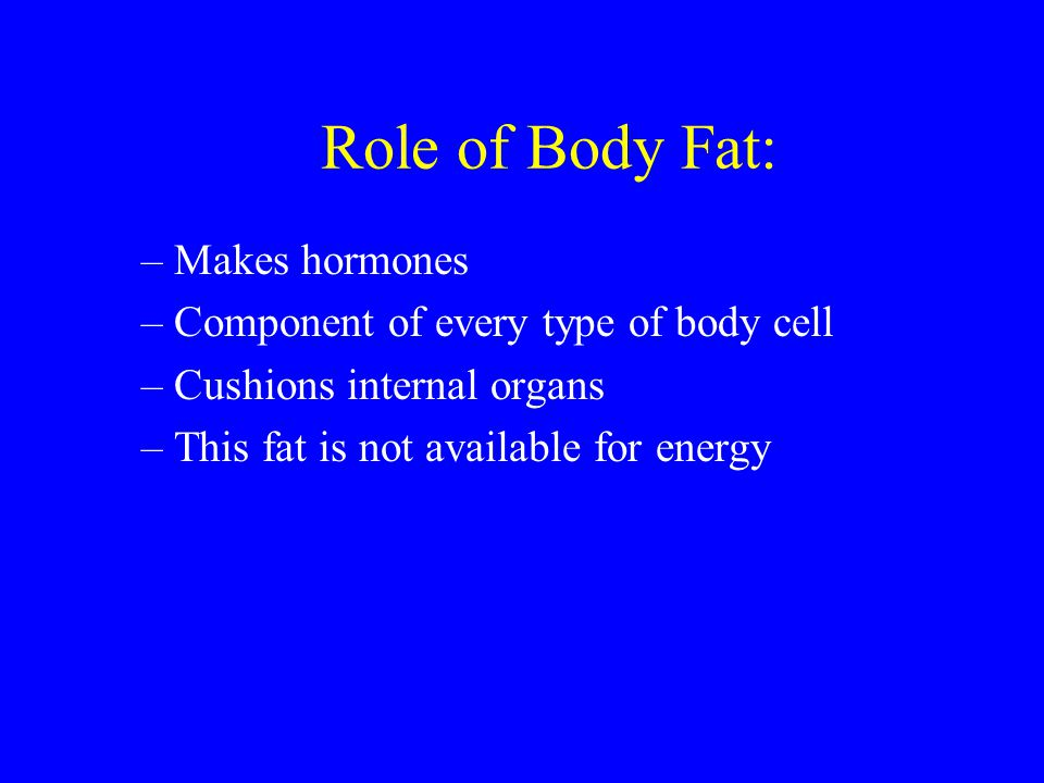Role of Body Fat: Makes hormones Component of every type of body cell