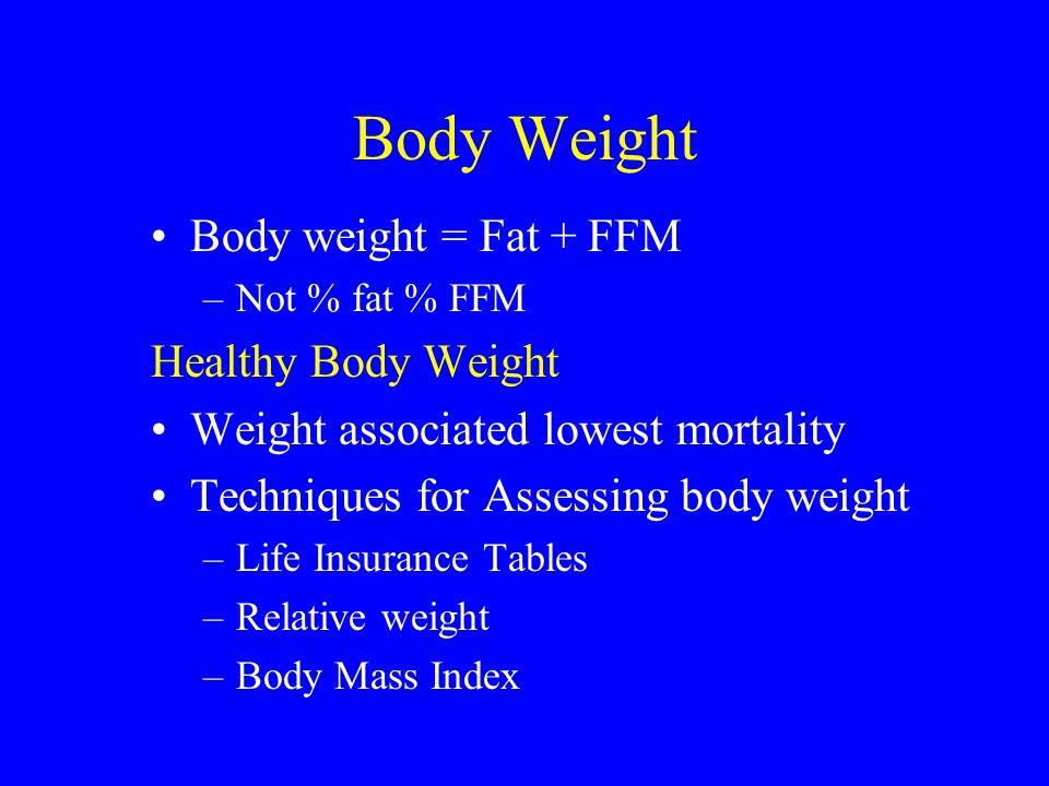 Body Weight Body weight = Fat + FFM Healthy Body Weight