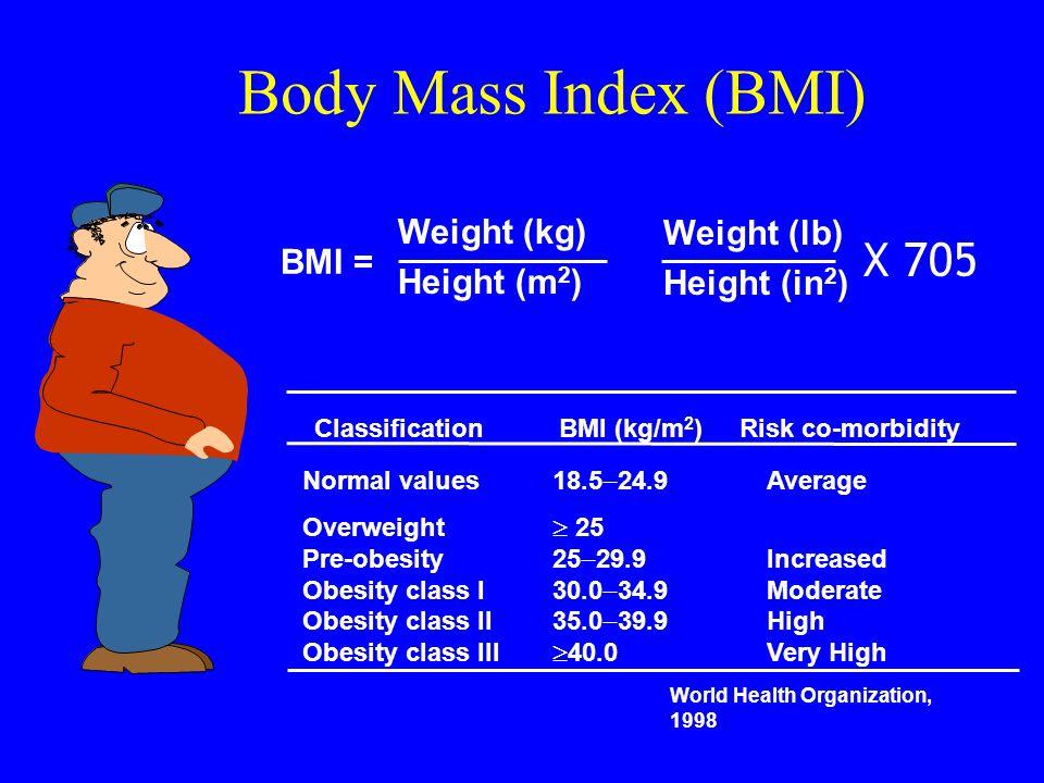 Body Mass Index (BMI) X 705 Weight (kg) Weight (lb) BMI = Height (m2)