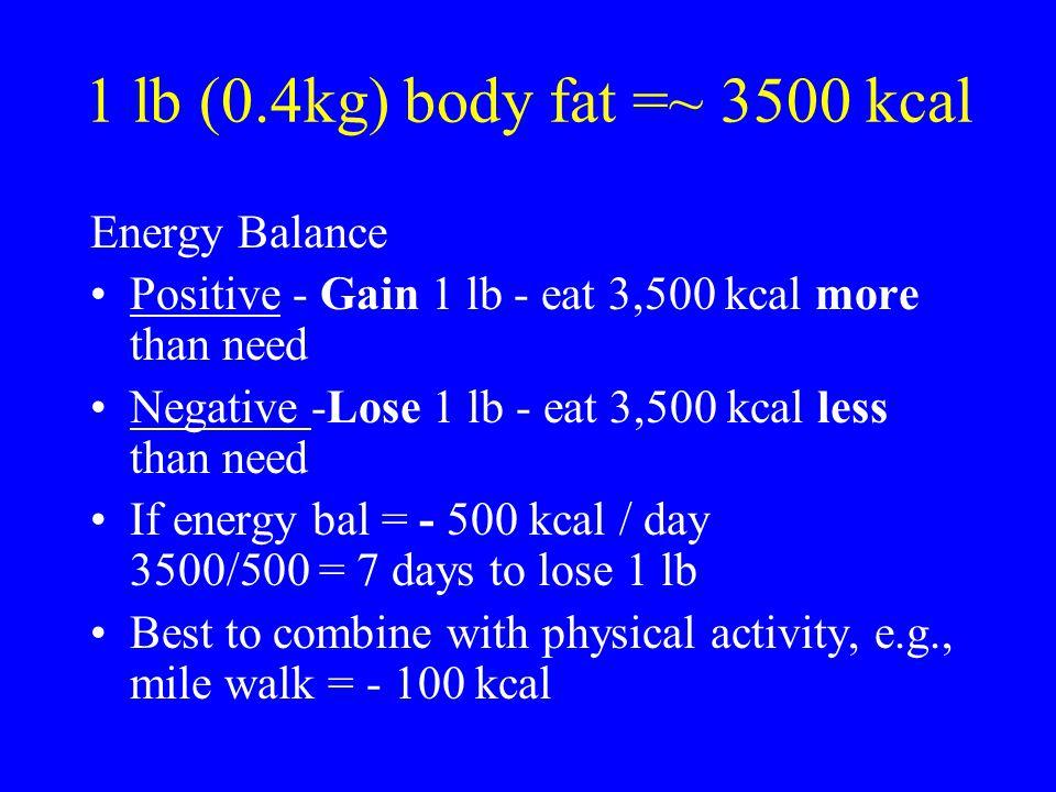 1 lb (0.4kg) body fat =~ 3500 kcal Energy Balance
