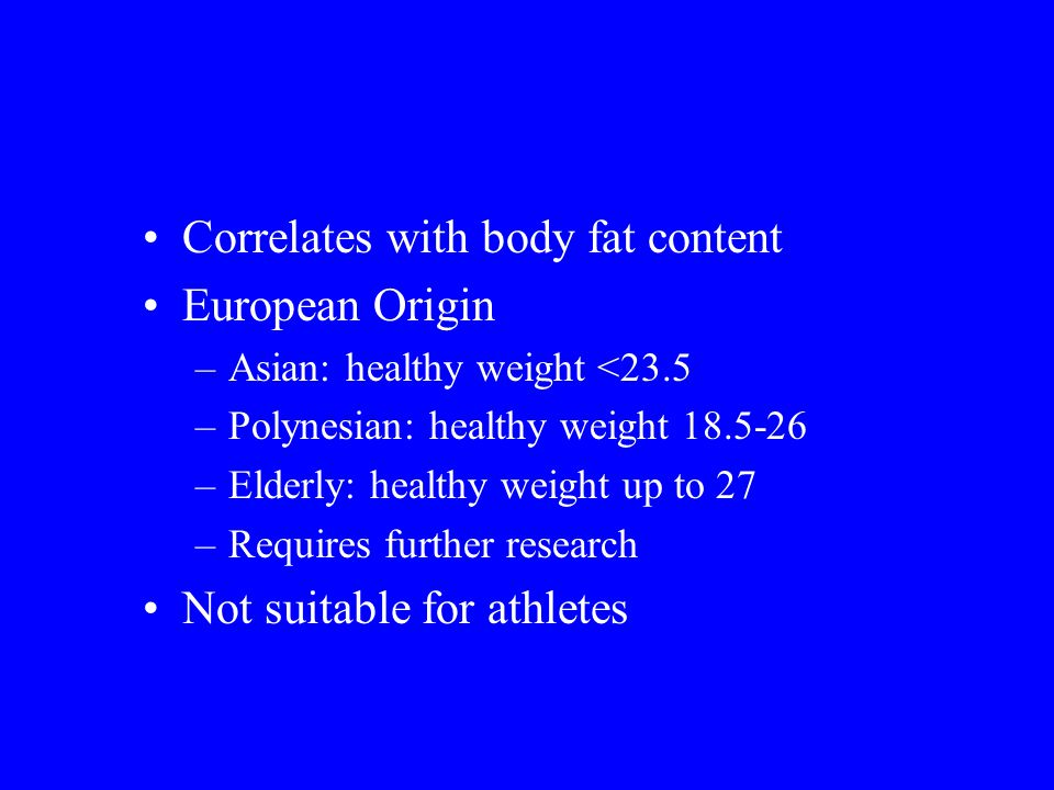 Correlates with body fat content European Origin