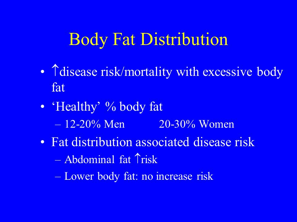 Body Fat Distribution disease risk/mortality with excessive body fat