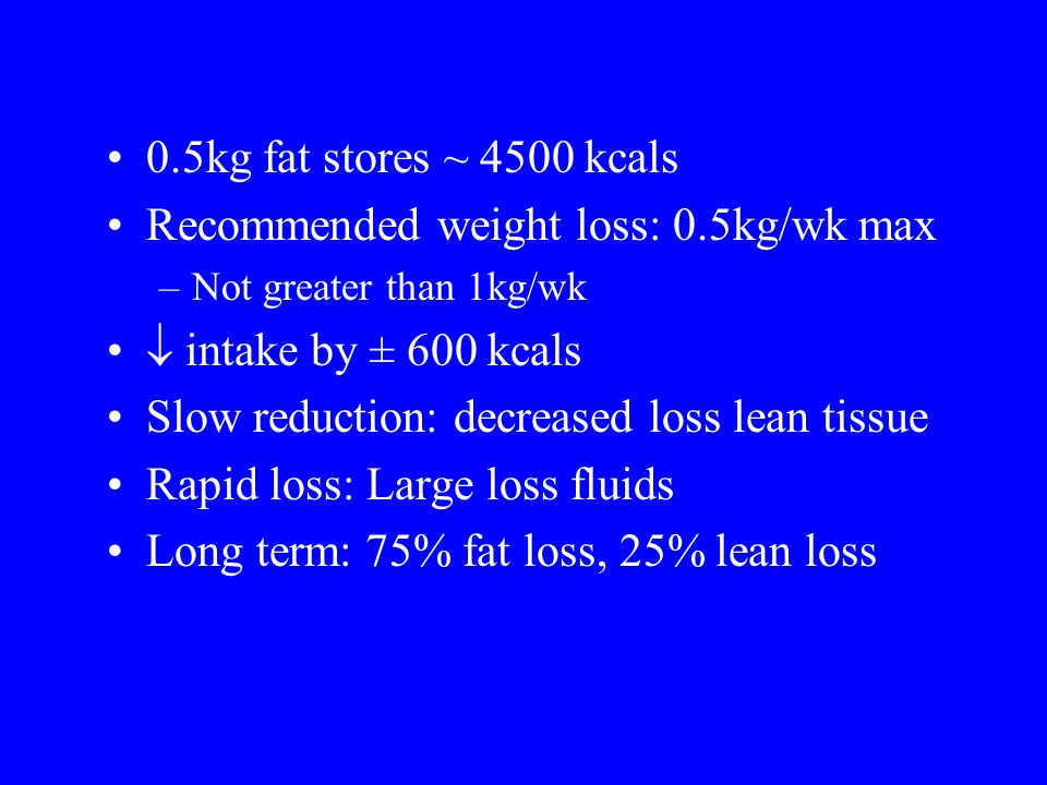 Recommended weight loss: 0.5kg/wk max  intake by ± 600 kcals