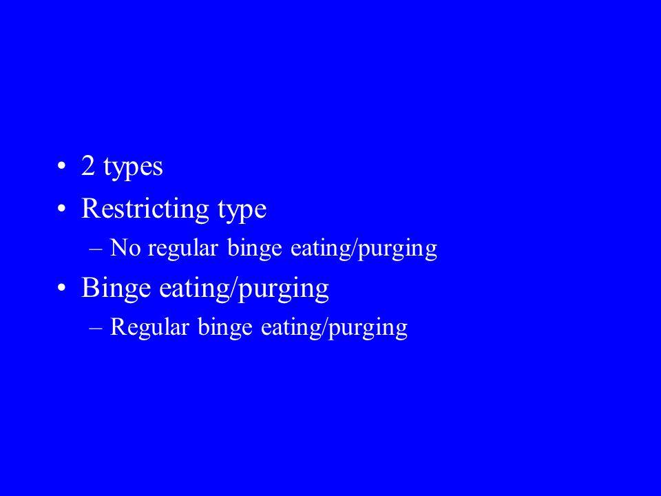 2 types Restricting type Binge eating/purging