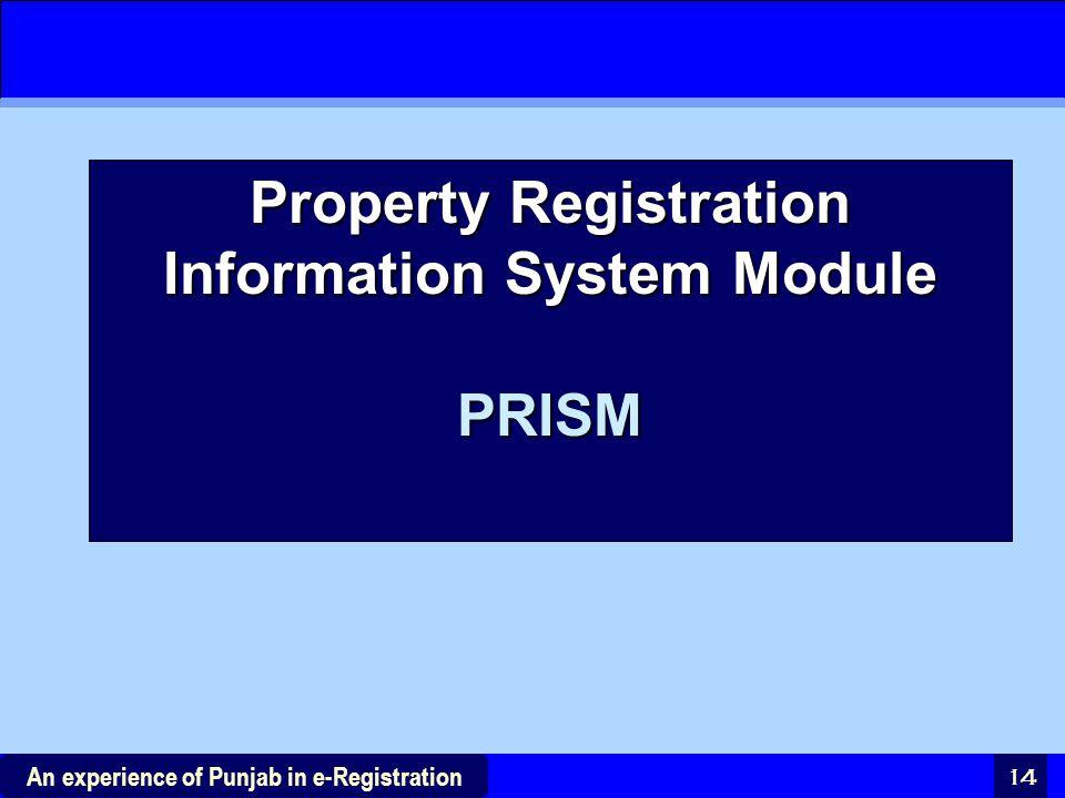 Property Registration Information System Module PRISM