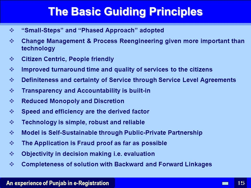 The Basic Guiding Principles