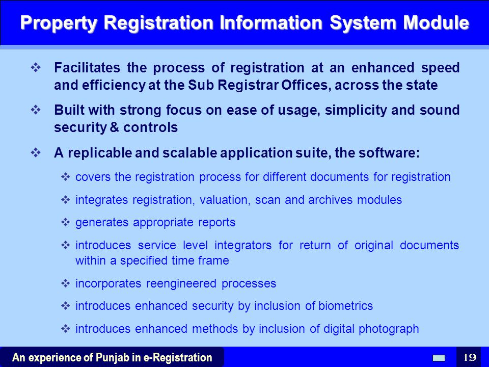 Property Registration Information System Module