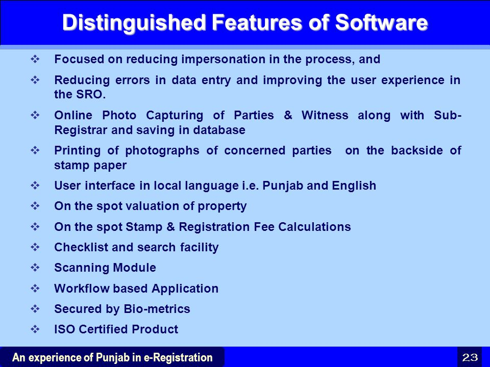 Distinguished Features of Software
