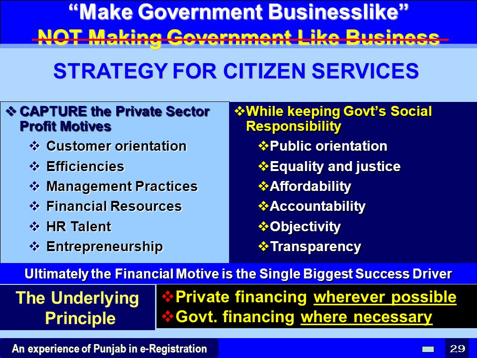 Make Government Businesslike NOT Making Government Like Business