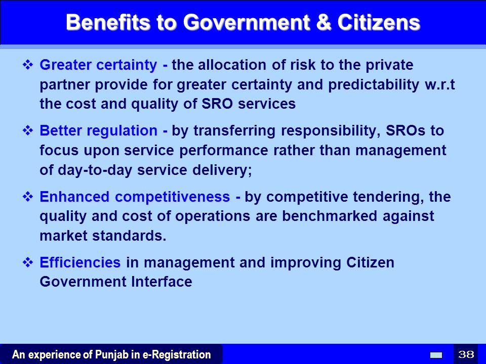 Benefits to Government & Citizens