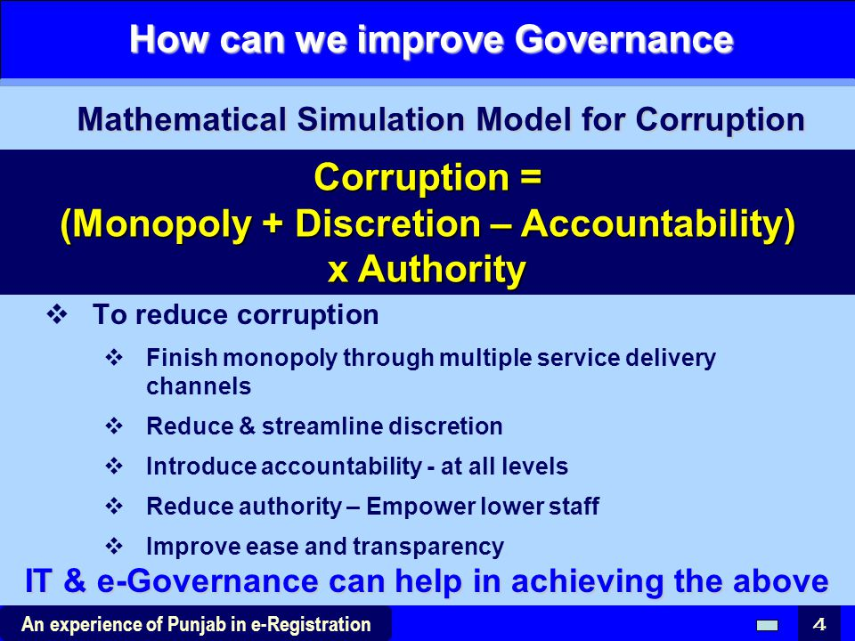 How can we improve Governance