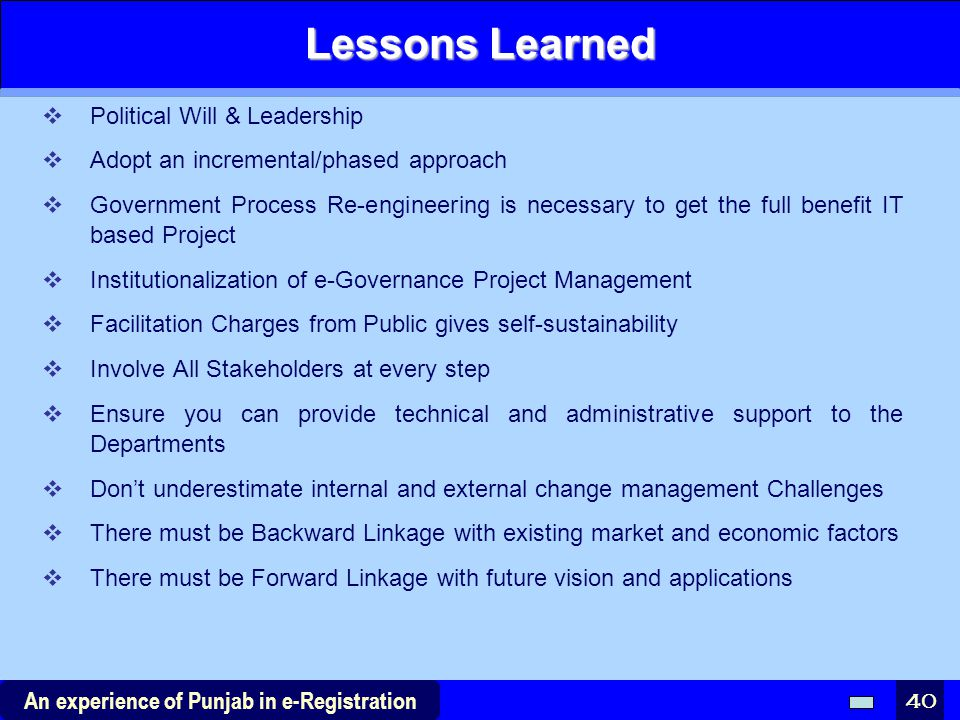Lessons Learned Political Will & Leadership