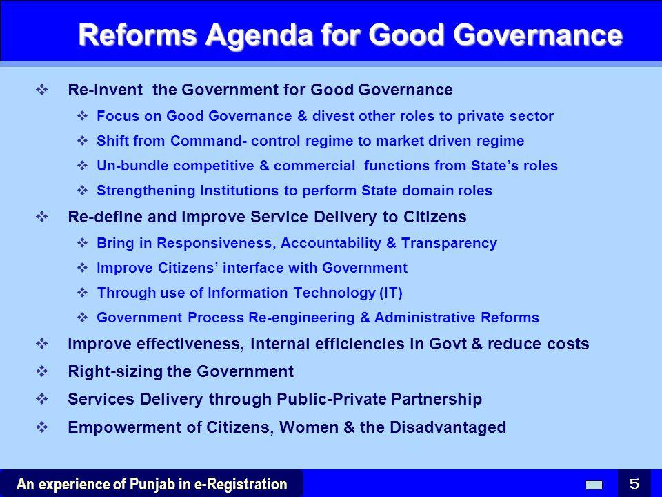 Reforms Agenda for Good Governance