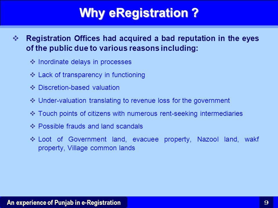 Why eRegistration Registration Offices had acquired a bad reputation in the eyes of the public due to various reasons including: