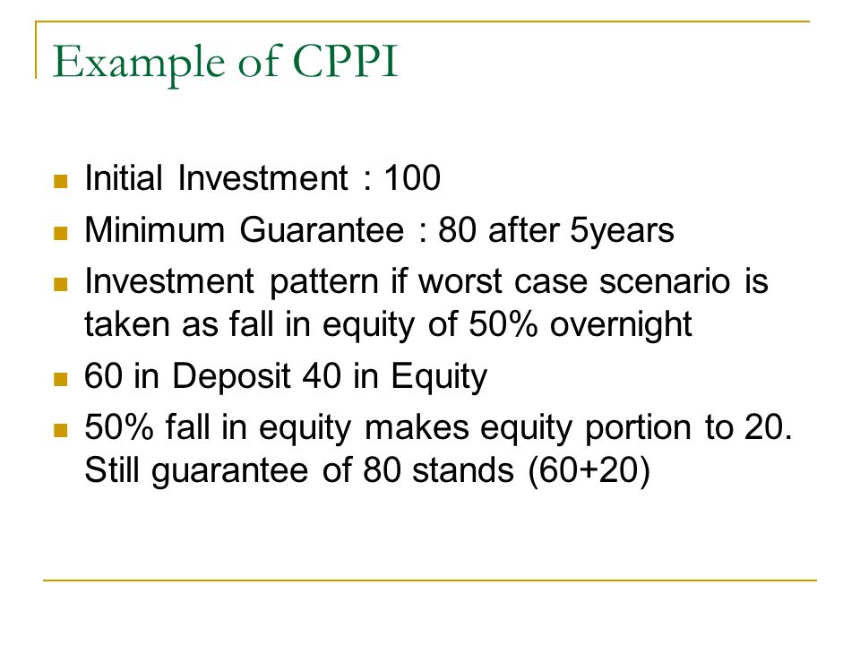 Example of CPPI Initial Investment : 100