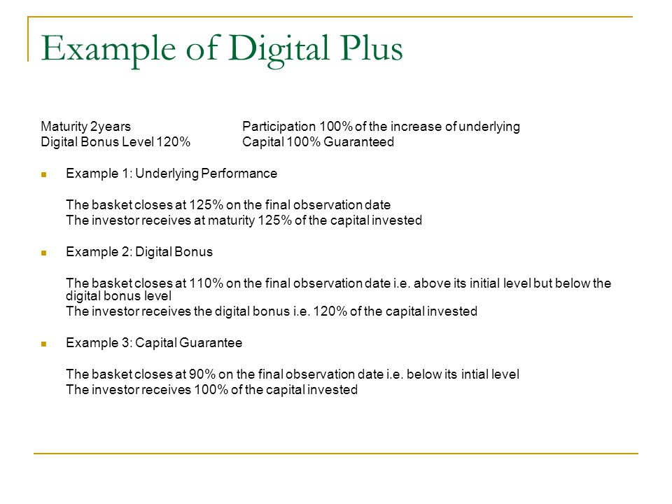 Example of Digital Plus