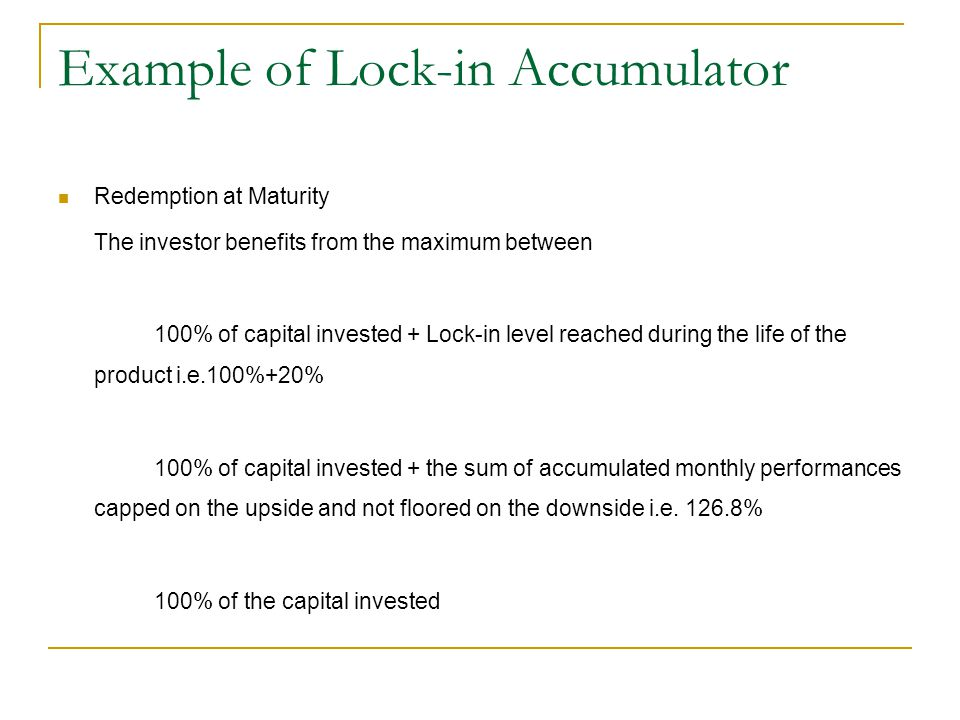 Example of Lock-in Accumulator