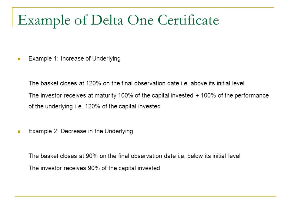 Example of Delta One Certificate
