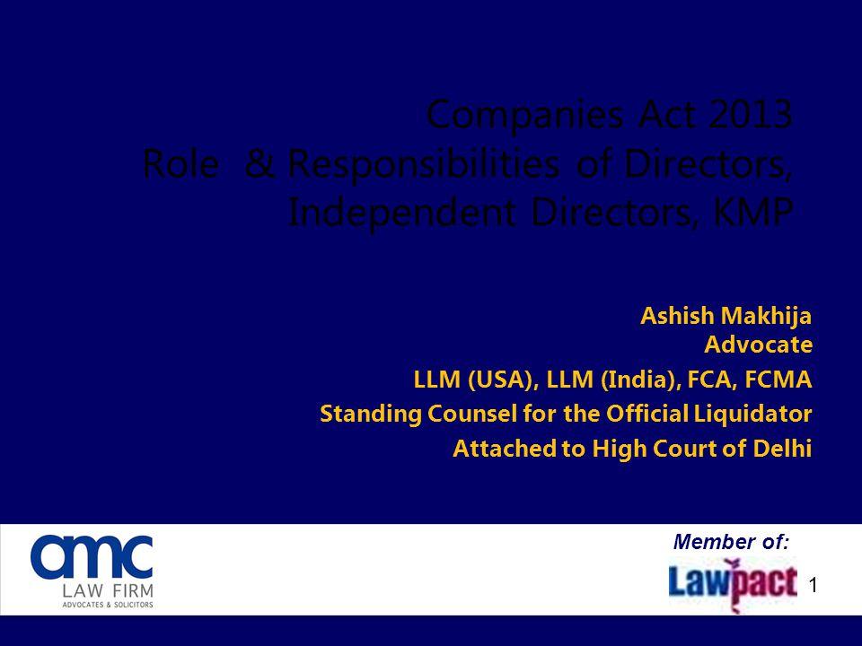 Companies Act 2013 Role & Responsibilities of Directors, Independent Directors, KMP