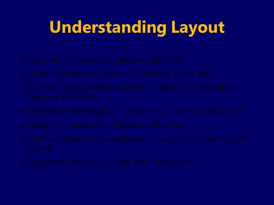 Understanding Layout Accounts – Chapter IX – Sections 128 to 138