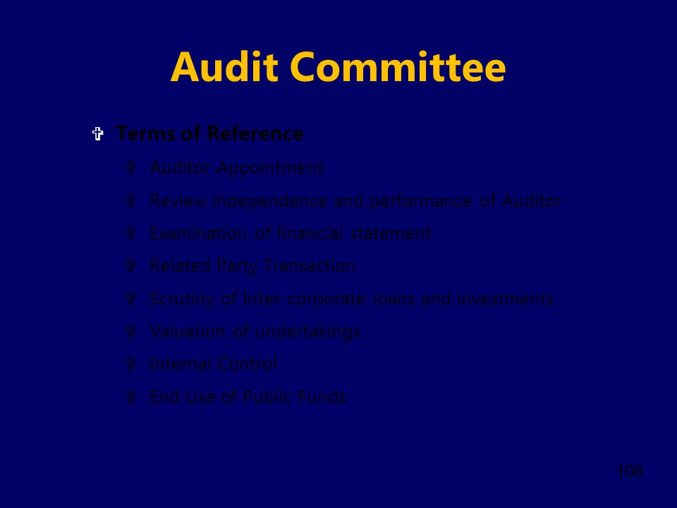 Audit Committee Terms of Reference Auditor Appointment