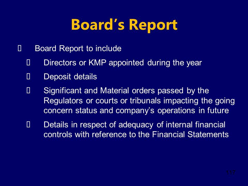 Board's Report Board Report to include