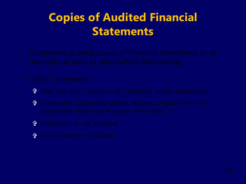 Copies of Audited Financial Statements