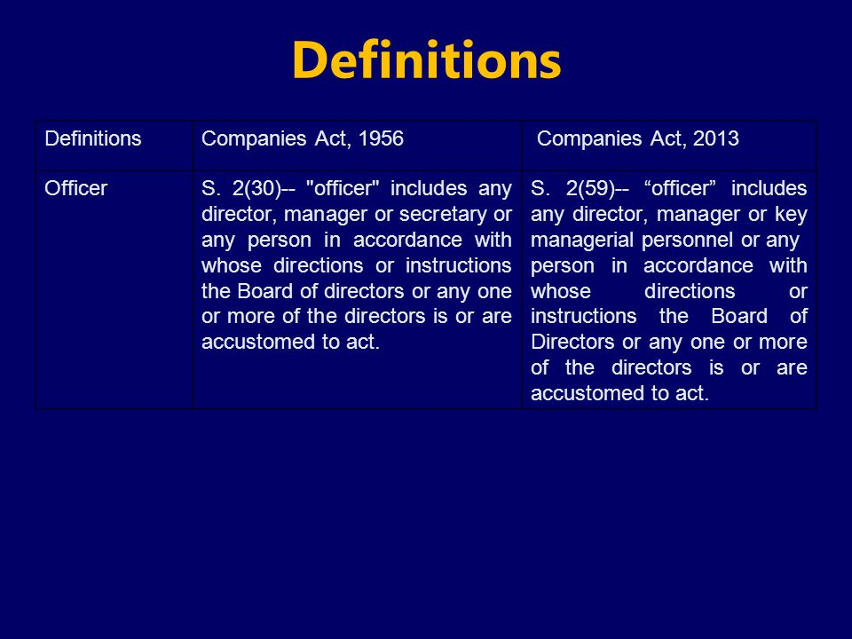 Definitions Definitions Companies Act, 1956 Companies Act, 2013