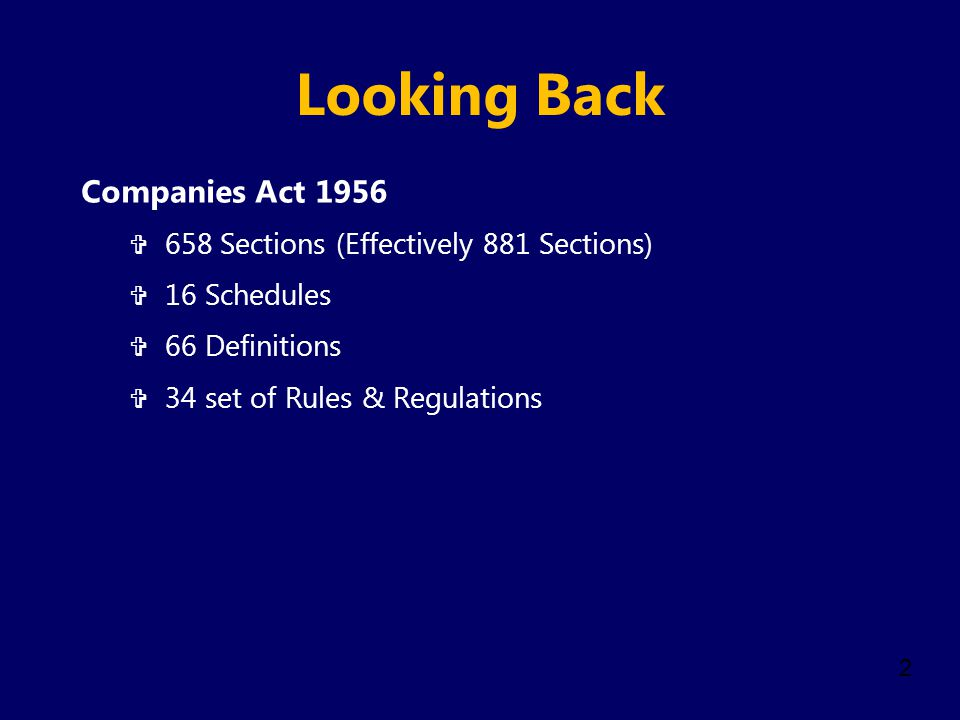 Looking Back Companies Act 1956