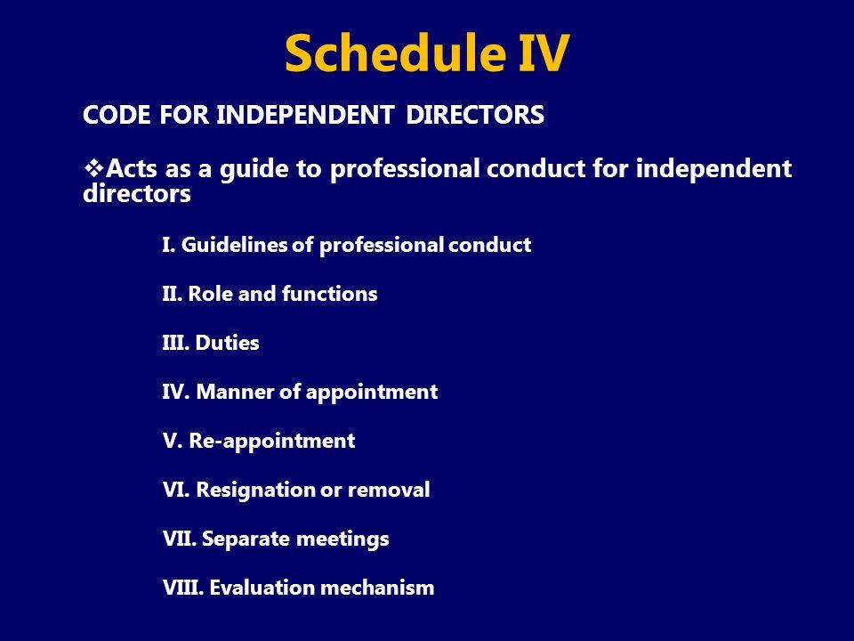 Schedule IV CODE FOR INDEPENDENT DIRECTORS