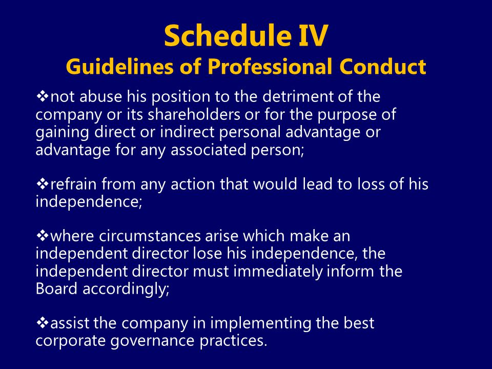 Schedule IV Guidelines of Professional Conduct