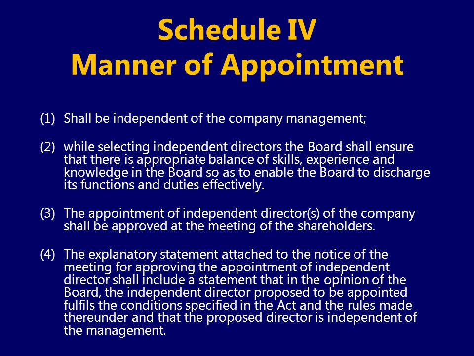 Schedule IV Manner of Appointment