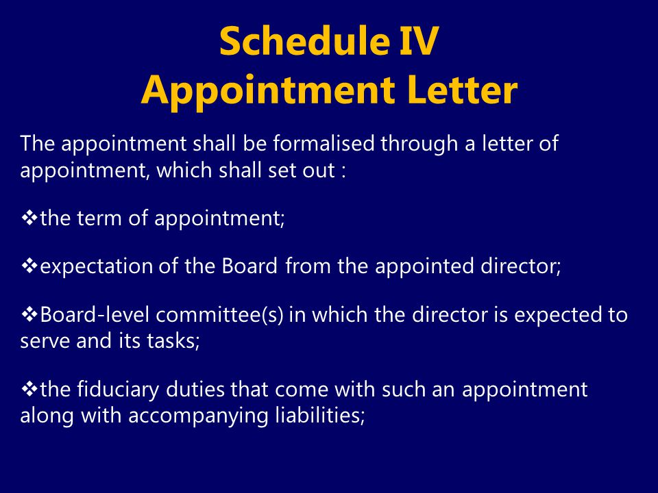 Schedule IV Appointment Letter