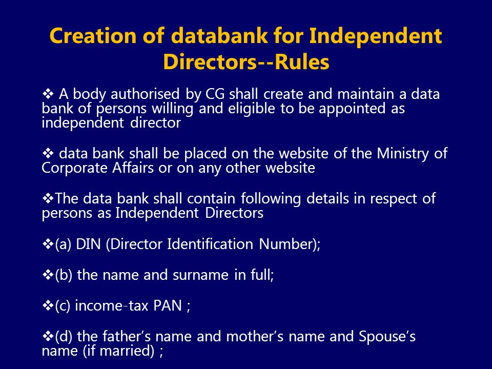 Creation of databank for Independent Directors--Rules