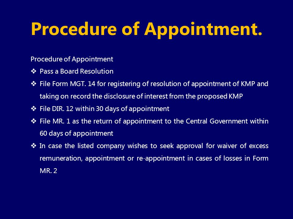 Procedure of Appointment.