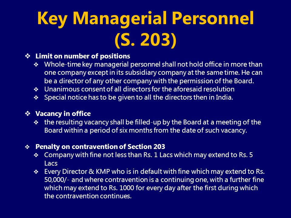 Key Managerial Personnel (S. 203)
