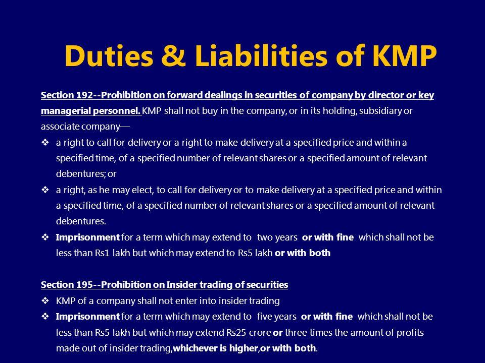 Duties & Liabilities of KMP