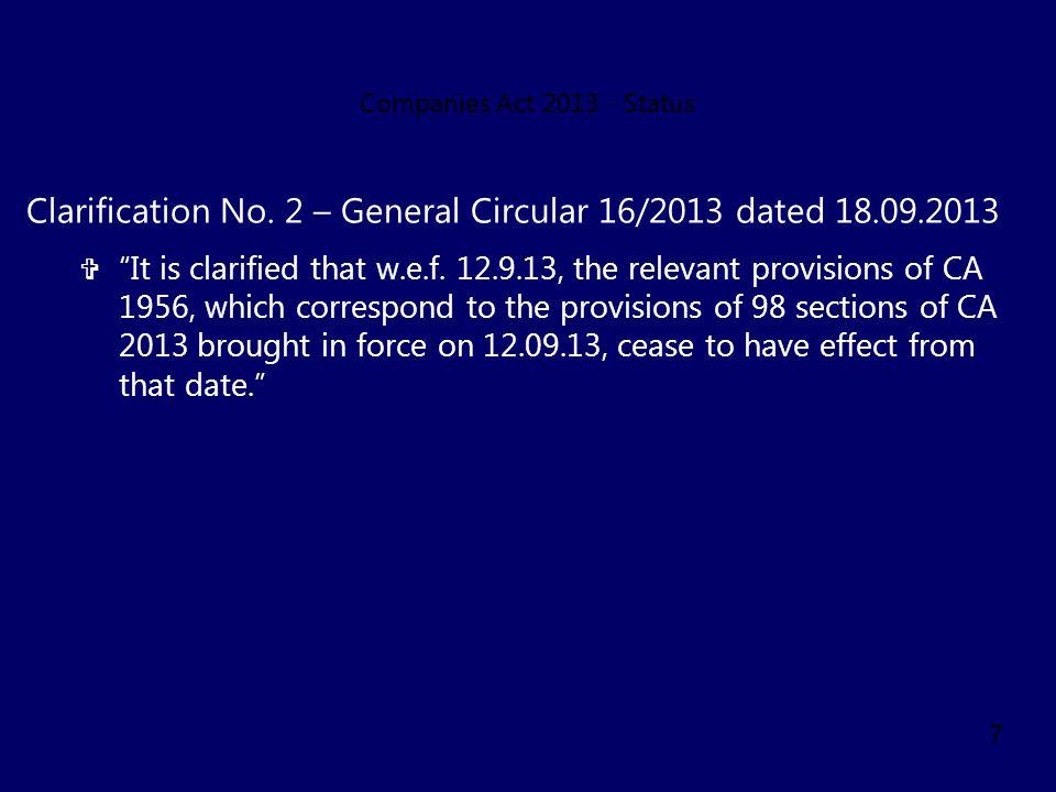 Clarification No. 2 – General Circular 16/2013 dated 18.09.2013
