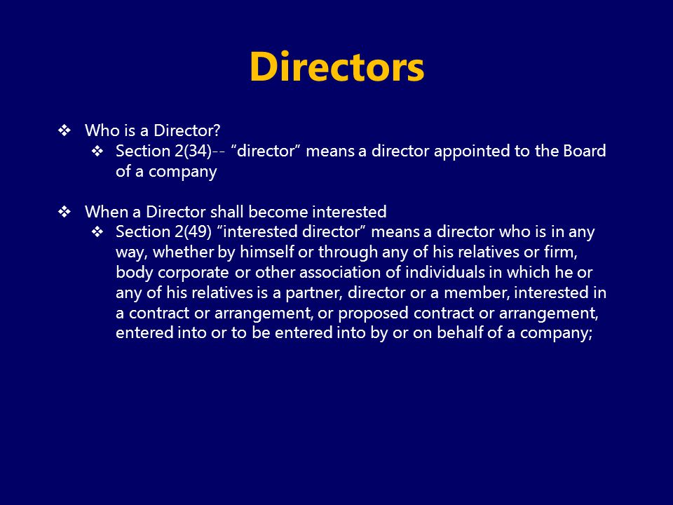Directors Who is a Director