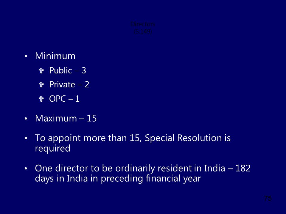 To appoint more than 15, Special Resolution is required