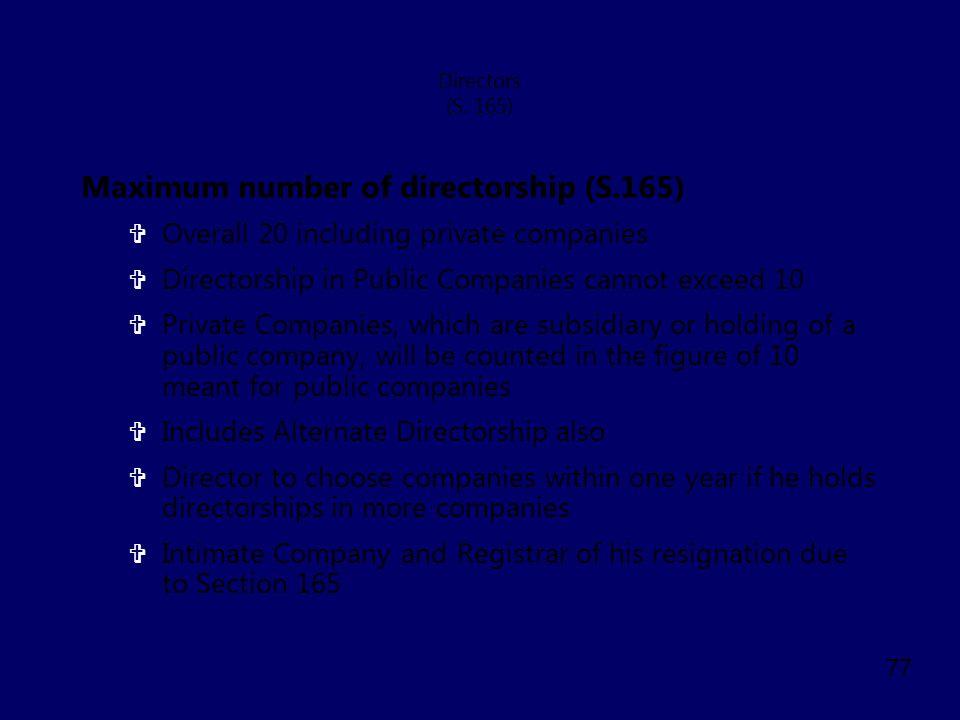 Maximum number of directorship (S.165)